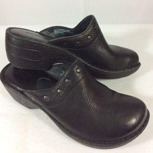 Born Black Leather Mules Slide Sz 8